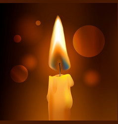 Realistic flame wax church candle on dark vector