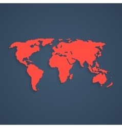 red pixel art world map vector image vector image