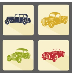 Retro car icon set vector image