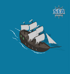 sailer ghost on a blue background vector image