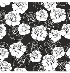 Seamless floral pattern with white roses on black vector