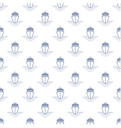 Seamless pattern with cruise ship line style vector
