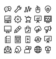 seo and marketing line icons 4 vector image vector image