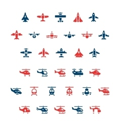 Set color icons of planes and helicopters vector image