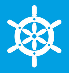 Ship wheel icon white vector