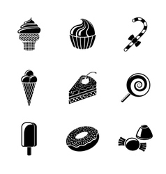 Sweet icons set with - cupcake donut cake ice vector