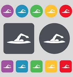 swimmer icon sign A set of 12 colored buttons Flat vector image vector image