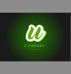 U alphabet letter logo green 3d company icon vector