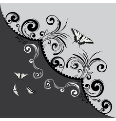 Vintage Floral with Butterflies4 vector image vector image