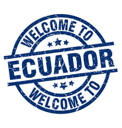 Welcome to ecuador blue stamp vector