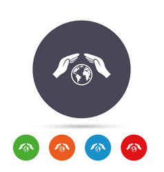 worldwide insurance sign hands protect cover vector image