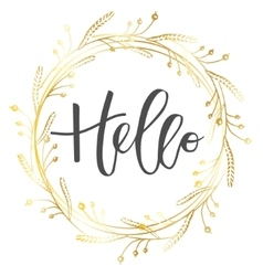 Hello hand written inscription vector