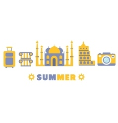 Touristic summer vacation symbols set by five in vector