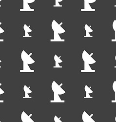 satellite dish icon sign Seamless pattern on a vector image