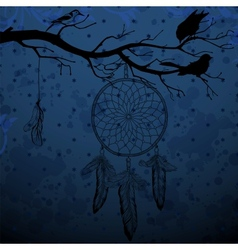 Dark blue background with dream catcher and birds vector