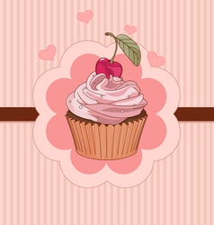Beautiful cupcake place card vector image