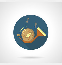 wind instruments french horn round icon vector image