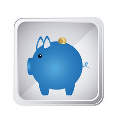 emblem blue pig to save coin icon vector image