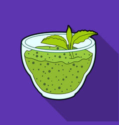 Fresh puree of greens with a mint leaf vegetarian vector