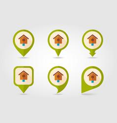 Nesting box bird-house flat pin map icon vector