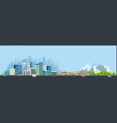 Urban landscape with large modern buildings vector