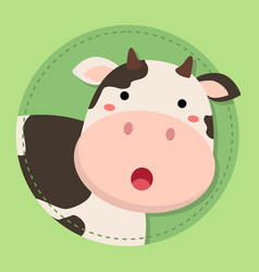 cute cow moo face on green circle vector image