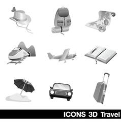 Icon set 3d travel vector
