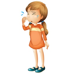 A baby girl crying vector