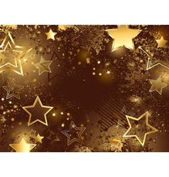 brown background with golden stars vector image