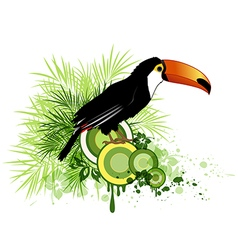 Tropical flowers green palm and bird vector