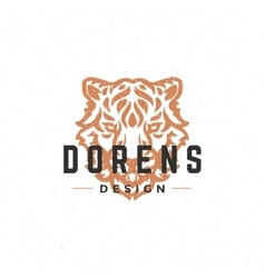 Tiger face logo hand drawn vintage design vector