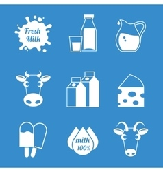 Fresh milk and dairy products icons vector