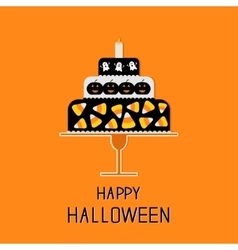 Cake with candy corn pumpkin ghost and candle vector