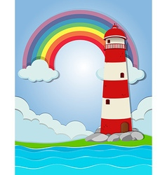 Lighthouse by the ocean vector