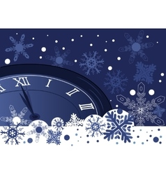 Christmas clock over abstract blue background vector