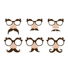 Closeup of a fake nose and glasses with mustache vector