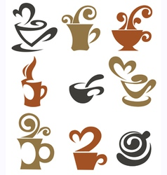 coffee and tea cups collection vector image