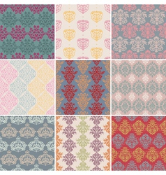set of seamless retro background vector image