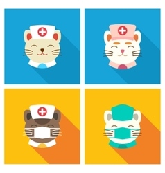 Cats doctors icon flat vector