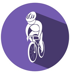 Sport icon design for cycling on round tag vector