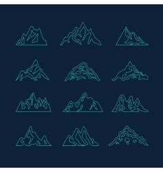 Mountain icon brush hand made stroke ink design vector
