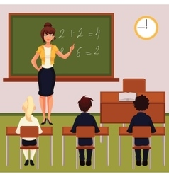 Math lesson with teacher and pupils in classroom vector