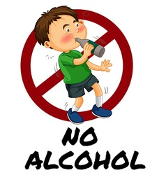 Boy drinking alcohol from bottle vector image
