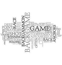 Backgammon strategy advanced backgame advice text vector