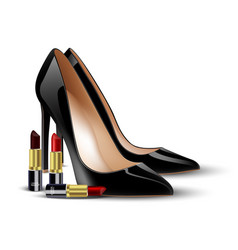 Black lady shoes and lipstick on isolated backgrou vector