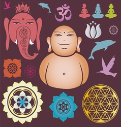 Buddah and Ganesh collection vector image vector image