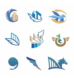 Business icons with horse and houses vector image vector image