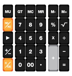 Calculator keyboard set isolated on white vector image