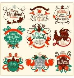 Christmas and New Year vintage badge set vector image