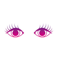 Color silhouette vision eyes with eyelashes style vector